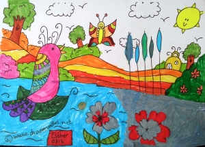 Eén van de deelnemers aan de Vogel Vera kleurwedstrijd stuurde deze kleurplaat in.