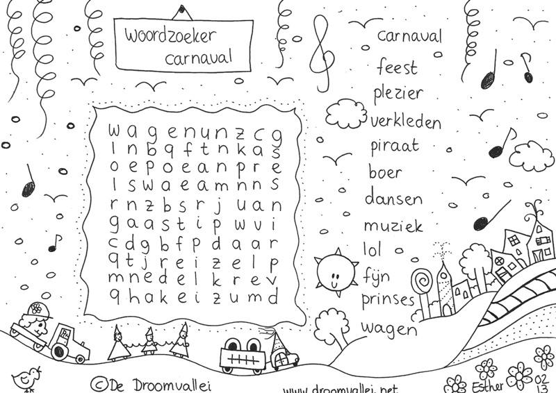 Droomvallei woordzoeker en kleurplaat