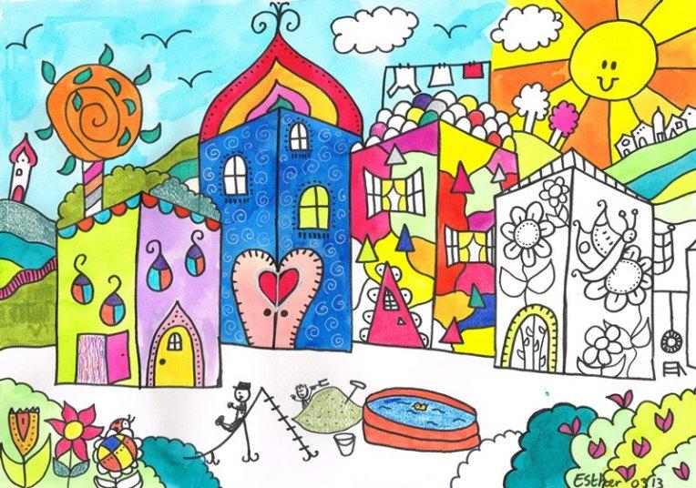 Tussenfase schilderij Esther - De Droomvallei ontmoet Hunderwasser
