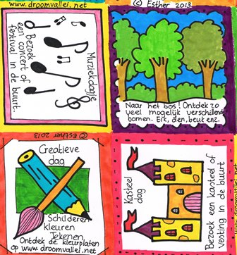Een paar door Esther ingekleurde kaarten