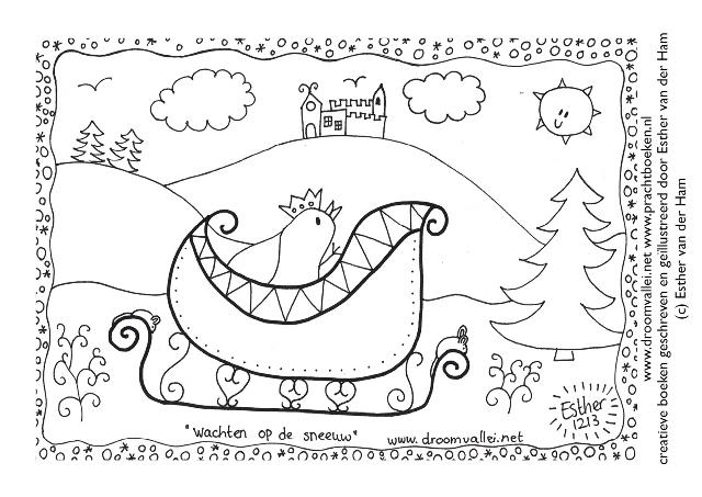 Droomvallei kleurplaat wachten op de sneeuw