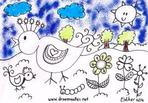 Droomvallei vogel kleur plaat