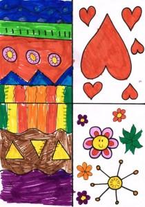 Knuffelvlag met eigen knuffel. In de hartjes kunnen de kinderen hun eigen knuffels tekenen of schilderen.