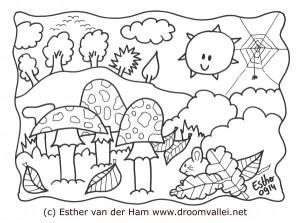 Droomvallei herfst paddenstoelen kleurplaat