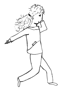 Eén van de zwart-wit illustraties uit het boek. Jamila rent naar school